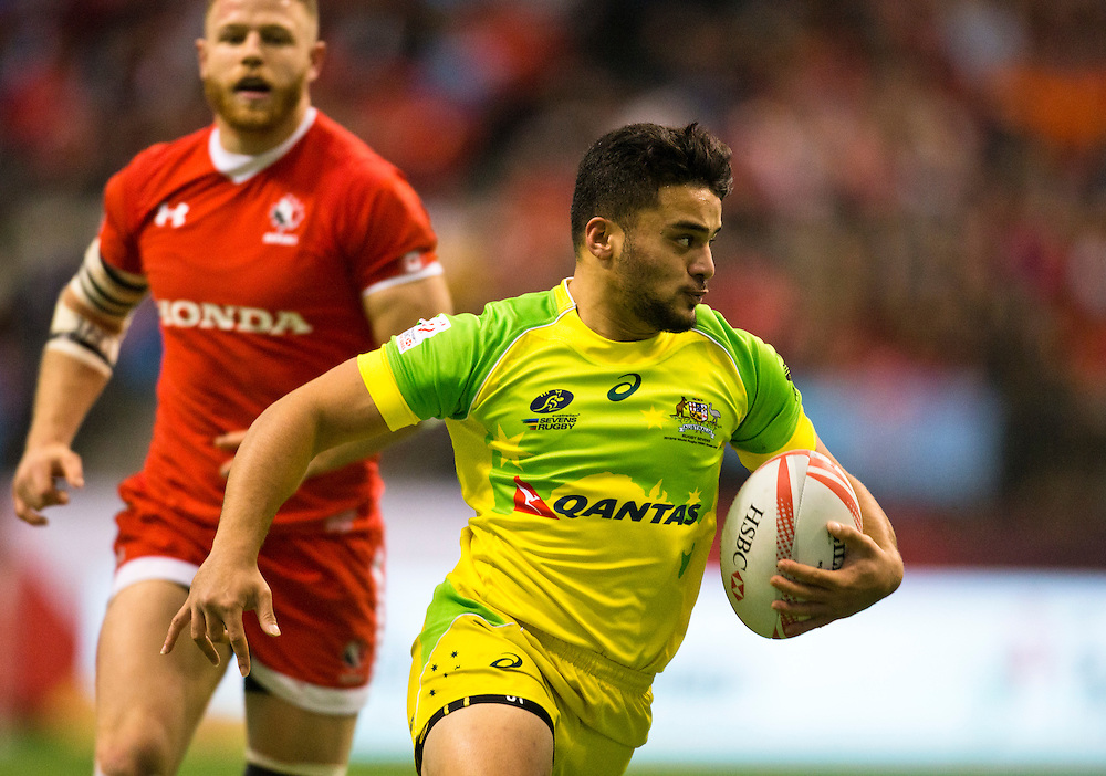Canada plays Australia at the HSBC Sevens World Series XVII Round 6 at B.C. Place Stadium in Vancouver British Columbia on March 12, 2016. Canada beat Australia 14-12. (KevinLight/CBCSports)