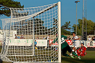 Picture by Ian Wadkins/Focus Images Ltd +44 7877 568959<br /> 25/07/2013<br /> Goran Mujanović of FC Rijeka scores 3rd goal during the second leg of the UEFA Europa League round two qualifying match at Belle Vue Stadium, Rhyl.