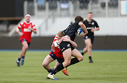 Ollie Holiday of Bristol Bears U18 tackles Tobias Elliott of Saracens U18 - Mandatory by-line: Arron Gent/JMP - 12/01/2020 - RUGBY - Allianz Park - London, England - Saracens U18 v Bristol Bears U18 - Premiership U18 Academy