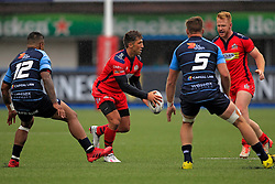 Gavin Henson of Bristol Rugby (2nd L) in action with Will Hurrell of Bristol Rugby (R) and Rey Lee Lo (L) and Cam Dolan of Cardiff Blues (2nd R) - Mandatory by-line: Ian Smith/JMP - 20/08/2016 - RUGBY - BT Sport Cardiff Arms Park - Cardiff, Wales - Cardiff Blues v Bristol Rugby - Pre-season friendly