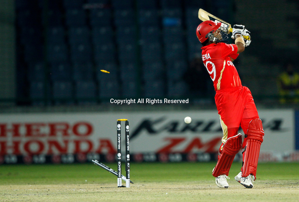 07.03.2011 Cricket World Cup from the Feroz Shah Kotla stadium in Delhi. Canada v Kenya. Rizwan Cheema of Canada bowled out during the match of the ICC Cricket World Cup between Canada and Kenya
