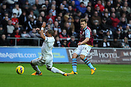 Aston Villa's Andreas Weimann (26) shoots and scores his sides 1st goal to make it 1-1.  Barclays Premier league, Swansea city v Aston Villa at the Liberty Stadium in Swansea, South Wales on New Years Day, Tuesday 1st Jan 2013. pic by Andrew Orchard, Andrew Orchard sports photography,