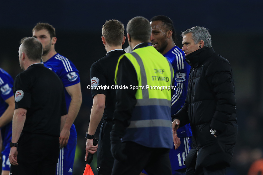 11 February 2015 - Barclays Premier League - Chelsea v Everton - Jose Mourinho, Manager of Chelsea comes onto the pitch to speak with the officials at full time - Photo: Marc Atkins / Offside.