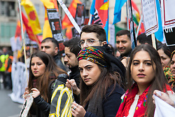 London, March 6th 2016. Thousands of Kurds and their supporters from across the UK gather in London to march from the BBC to a rally in Trafalgar Square in protest against what they say is a war of persecution, accusing the Erdogan government of funding the Islamic State to fight against separatists in Eastern Turkey. ©Paul Davey<br /> FOR LICENCING CONTACT: Paul Davey +44 (0) 7966 016 296 paul@pauldaveycreative.co.uk