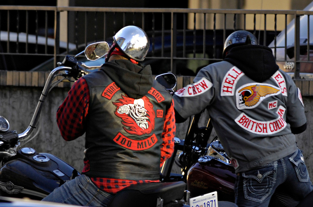 KELOWNA, BC- 08/03/10 -  Hells Angels and Throttle Lockers members riding in Kelowna.  Photo by Daniel Hayduk