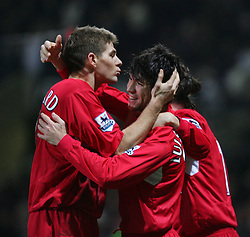 BOLTON, ENGLAND - MONDAY, JANUARY 2nd, 2006: Liverpool's Luis Garrcia celebrates scoring the second goal against Bolton Wanderers with team-mate Steven Gerrard during the Premiership match at the Reebok Stadium. (Pic by David Rawcliffe/Propaganda)