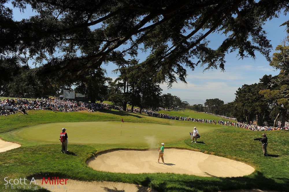 David Toms hits from a green-side bunker ont he second hole during the third round of the 112th U.S. Open at The Olympic Club on June 16, 2012 in San Fransisco. ..©2012 Scott A. Miller