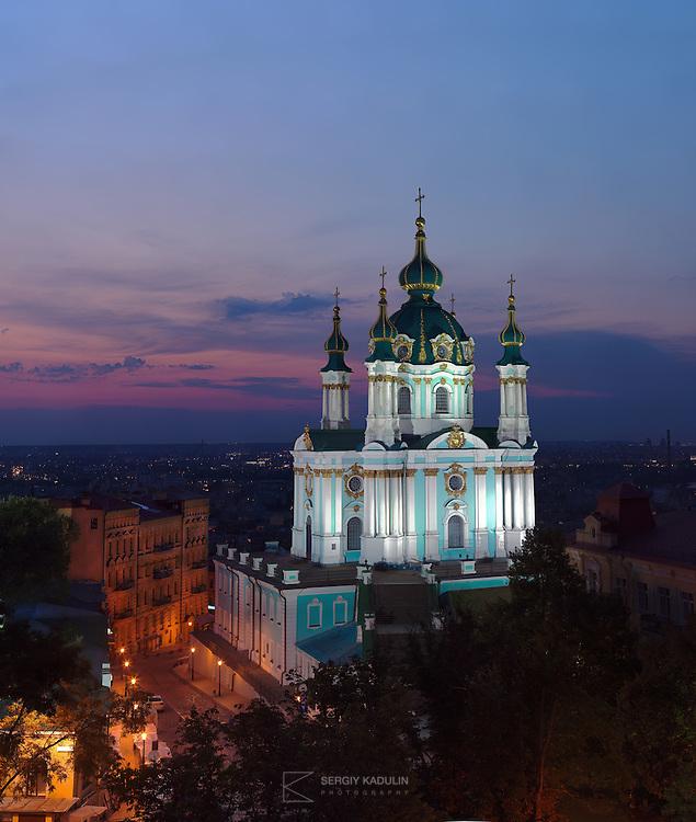 Andreevskaya Church at night, Kyiv, Ukraine