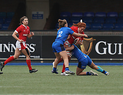 February 2, 2020, Cardiff, United Kingdom: Georgia Evans (Wales) and Beatrice Capomaggi (Italy) are seen in action during the women's Six Nations Rugby between wales and Italy at Cardiff Arms Park in Cardiff. (Credit Image: © Graham Glendinning/SOPA Images via ZUMA Wire)