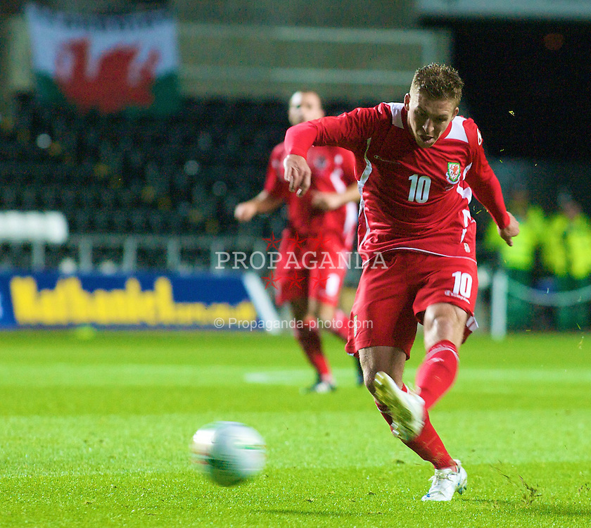 SWANSEA, WALES - Wednesday, August 20, 2008: Wales' Freddy Eastwood in action during an international friendly match against Georgia's Malkhaz Asatiani at the Liberty Stadium. (Photo by Chris Ratcliffe/Propaganda)
