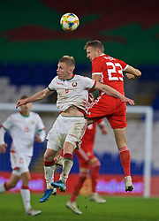 CARDIFF, WALES - Monday, September 9, 2019: Wales' substitute Will Vaulks (R) challenges Belarus' Nikolai Zolotov during the International Friendly match between Wales and Belarus at the Cardiff City Stadium. (Pic by David Rawcliffe/Propaganda)