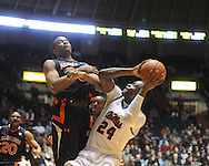 Ole Miss'  Terrico White (24) vs. Auburn's Brendon Knox (30)  in Oxford, Miss. on Wednesday, February 24, 2010. Ole Miss won 85-75, giving coach Andy Kennedy his 100th win as a head coach.