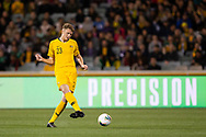 CANBERRA, AUSTRALIA - OCTOBER 10: Australian defender Harry Souttar (23) passes the ball during the FIFA World Cup Qualifier soccer match between Australia and Nepal on October 10, 2019 at GIO Stadium in Canberra, Australia. (Photo by Speed Media/Icon Sportswire)