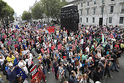 © Licensed to London News Pictures. 07/09/2019. London, UK. People gather for a Pro-EU rally in Whitehall, central London. Photo credit: Peter Macdiarmid/LNP