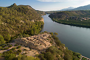Iberian settlement of Castellot de la Roca Roja, aerial view, in the Barrufemes Gorge in the river Ebro, Catalonia, Spain. The small fortified town was occupied 6th - 3rd centuries BC. Picture by Manuel Cohen
