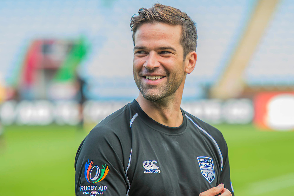Gethin Jones - Training starts for inaugural RUGBY AID 2015 charity match which takes place on Friday 4th September 2015 at the Twickenham Stoop. The celebrity charity game will be in aid of RUGBY FOR HEROES  of which Mike Tindall MBE is Patron. The charity raises funds and awareness through the sport of rugby, the fan community and the wider professional player network, to support military personnel who are making the transition back from military service to civilian life. The teams (England v's Rest of the World) include former international rugby players, celebrities and serving members of the armed forces. Harlequins Rugby , The Stoop, Twickenham, London UK, 02 Sept 2015