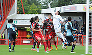 Matt Ingram punches clear the danger during the Sky Bet League 2 match between Crawley Town and Wycombe Wanderers at the Checkatrade.com Stadium, Crawley, England on 29 August 2015. Photo by Michael Hulf.