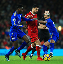 Emre Can of Liverpool takes on Riyad Mahrez of Leicester City - Mandatory by-line: Matt McNulty/JMP - 30/12/2017 - FOOTBALL - Anfield - Liverpool, England - Liverpool v Leicester City - Premier League