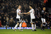 Fulham forward Lucas Piazon (20) celebrrating scoring with Fulham forward Lucas Piazon (20) during the EFL Sky Bet Championship match between Fulham and Derby County at Craven Cottage, London, England on 17 December 2016. Photo by Matthew Redman.