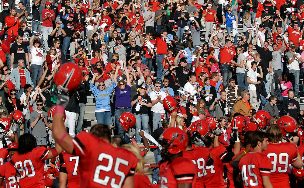 Southeast Missouri State University players salute the student section after their 24-17 victory over the University of Tennessee at Martin during Homecoming on Saturday, Oct. 30, 2010, at Houck Stadium.