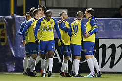 (L-R)  Alvin Daniels of Sc Cambuur, Jordy van Deelen of Sc Cambuur, Ricardo Kip of Sc Cambuur, Robbert Schilder of Sc Cambuur during the Jupiler League match between SC Cambuur Leeuwarden and NEC Nijmegen at the Cambuur Stadium on March 16, 2018 in Leeuwarden, The Netherlands