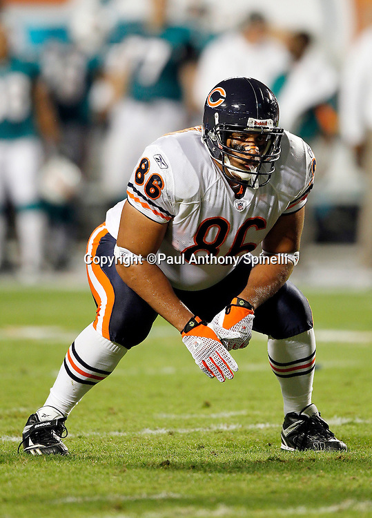 Chicago Bears tight end Brandon Manumaleuna (86) gets set in a two point stance during the NFL week 11 football game against the Miami Dolphins on Thursday, November 18, 2010 in Miami Gardens, Florida. The Bears won the game 16-0. (©Paul Anthony Spinelli)