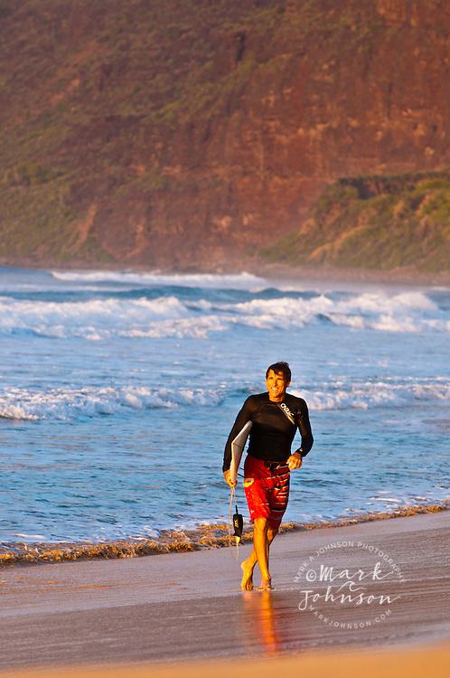 Surfer, Polihale Beach, Kauai, Hawaii