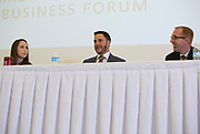 Alumni panelists, from left, Jessica Martin, Justin Hunt, and Michael Morrow answer questions at the Darren Butler Sports Business Forum on September 22, 2017.