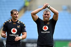 Josh Bassett and Brad Shields of Wasps acknowledge the crowd after the match - Mandatory byline: Patrick Khachfe/JMP - 07966 386802 - 12/10/2019 - RUGBY UNION - Ricoh Arena - Coventry, England - Wasps v Worcester Warriors - Premiership Rugby Cup