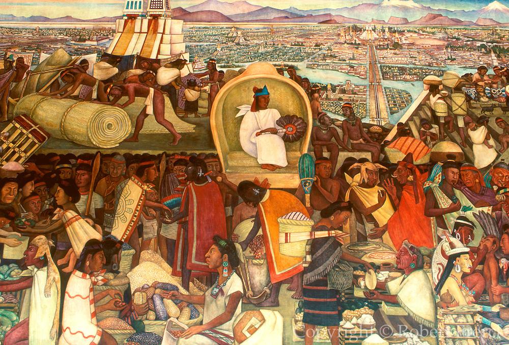 MEXICO, MEXICO CITY, MURALS Rivera's 'Grand Tenochtitlan' Aztec Capital