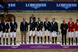 Team Ireland, Allen Bertram, Lynch Denis, O Connor Cian, Sweetnam Shane, Pessoa Rodrigo, BRA Chef d'Equipe<br /> FEI European Jumping Championships - Goteborg 2017 <br /> © Hippo Foto - Dirk Caremans<br /> 25/08/2017,