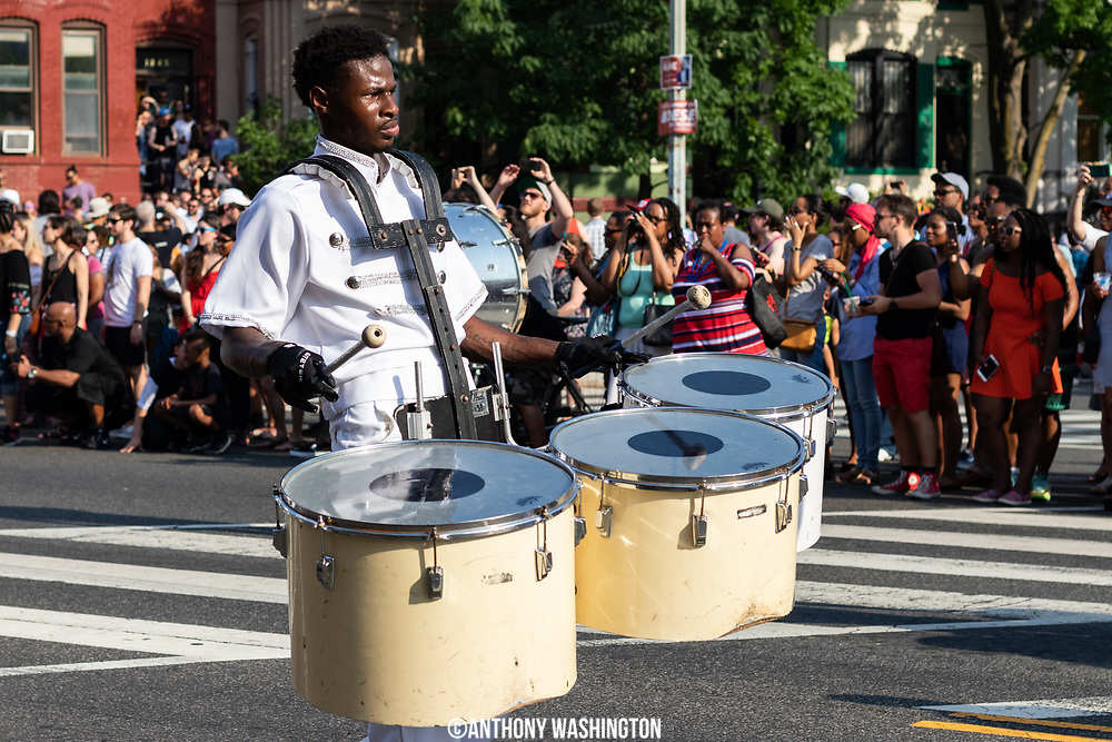 A member of The Band Marching Unit from Baltimore, Maryland performs during Funk Parade 2018 in Washington, DC on Saturday, May 12. 2018.