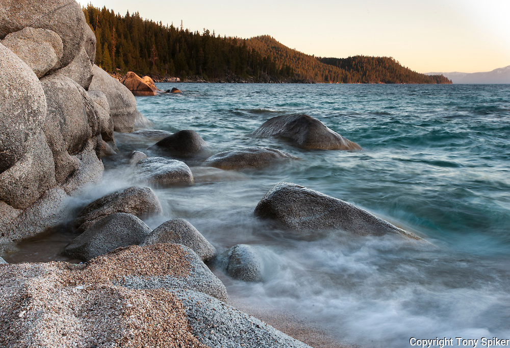 """Chimney Beach 1"" - An evening photograph of Chimney Beach, on the Eastern Shore of Lake Tahoe"