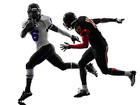 two american football players in silhouette shadow on white background