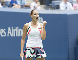 August 31, 2017 - New York, New York, United States - Karolina Pliskova of Czech Republic reacts during match against Nicole Gibbs of USA at US Open Championships at Billie Jean King National Tennis Center  (Credit Image: © Lev Radin/Pacific Press via ZUMA Wire)