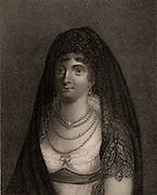 Marie Chamand, Comtesse de Lavalette (1781-1855), wife of Comte de Lavalette,  French politician and Napoleonic general, and niece of Josephine Beauharnais.  In 1815 she saved husband's life by changing clothes with him and enabling him to escape from prison shortly before due to be executed under the second Bourbon restoration.  Stipple engraving from 'History of the Wars Occasioned by the French Revolution...' by CH Gifford (London, 1817).
