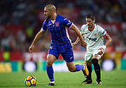 SEVILLE, SPAIN - OCTOBER 28:  Nourredine Amrabat of CD Leganes (L) being followed by Sergio Escudero of Sevilla FC (R) during the La Liga match between Sevilla and Leganes at  Estadio Sanchez Pizjuan on October 28, 2017 in Seville, .  (Photo by Aitor Alcalde Colomer/Getty Images)