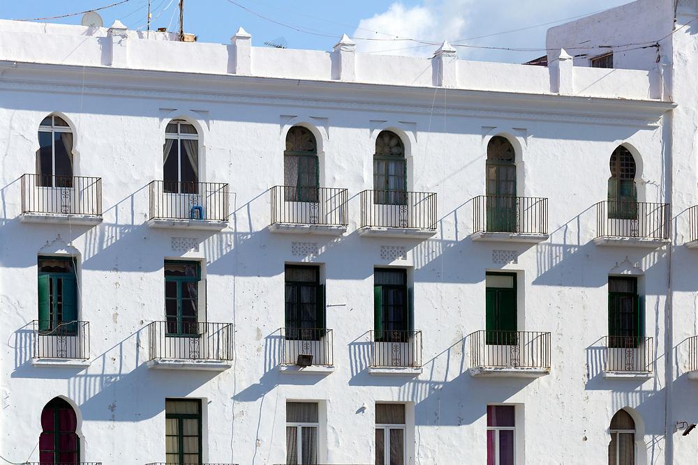 TETOUAN, MOROCCO - 6th April 2016 - Residential building architecture in the Tetouan Medina, Rif region of Northern Morocco.