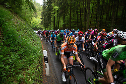 The peloton starts the first categorised climb of Stage 2 of the Festival Elsy Jacobs - a 111.1 km road race, starting and finishing in Garnich on April 29, 2018, in Luxembourg. (Photo by Balint Hamvas/Velofocus.com)