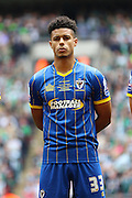 Lyle Taylor forward for AFC Wimbledon (33) before the Sky Bet League 2 play off final match between AFC Wimbledon and Plymouth Argyle at Wembley Stadium, London, England on 30 May 2016. Photo by Stuart Butcher.