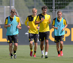30.06.2015, Trainingsanlage, Dortmund, GER, 1. FBL, Borussia Dortmund, Trainingsauftakt, im Bild v.l. Sven Bender (Dortmund), Hendrik Bonmann (Dortmund), Mats Hummels (Dortmund) und Marcel Schmelzer (Dortmund) beim auslaufen // during a traning session of German 1st Bundeliga Club Borussia Dortmund at Trainingsanlage Borussia Dortmund in Dortmund, Germany on 2015/06/30. EXPA Pictures © 2015, PhotoCredit: EXPA/ Eibner-Pressefoto/ Hommes<br /> <br /> *****ATTENTION - OUT of GER*****