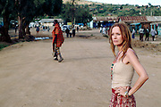 German actor Katja Flint in Maralal, Northern Kenya during the filming of The White Massai (Die weisse Massai) directed by Hermine Huntgeburth