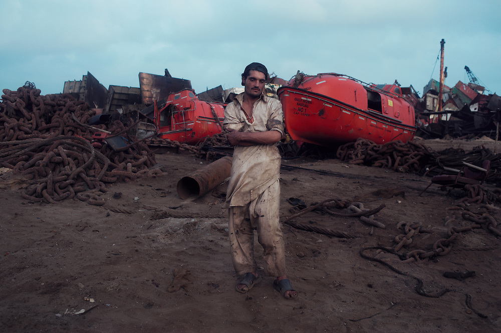 A man stands in the Gadani ship breaking yard, Balochistan Province, Pakistan on August 16, 2011.