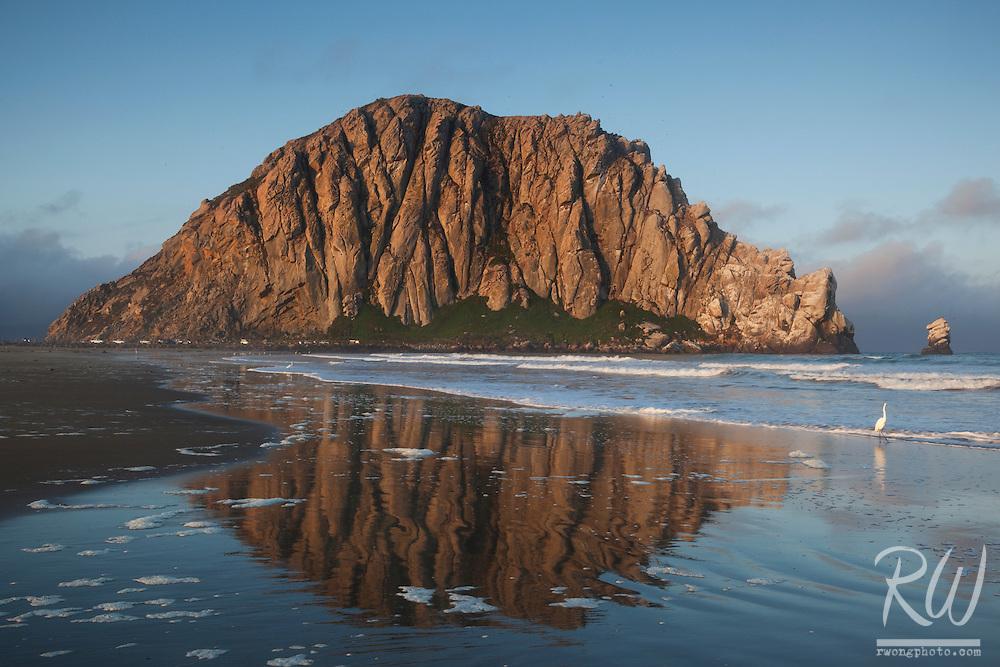 Morro Rock Reflection in Tide, Morro Bay, California