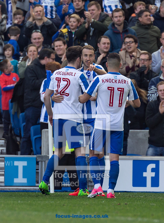Glenn Murray of Brighton &amp; Hove Albion celebrates his goal during the Sky Bet Championship match at the American Express Community Stadium, Brighton and Hove<br /> Picture by Liam McAvoy/Focus Images Ltd 07413 543156<br /> 01/04/2017
