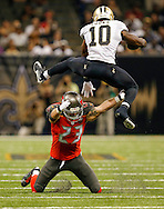 NEW ORLEANS, LA - SEPTEMBER 20: Safety Chris Conte #23 of the Tampa Bay Buccaneers during the game against the New Orleans Saints at the Mercedes-Benz Superdome on September 20, 2015, in New Orleans, Louisiana. The Buccaneers won 26-19. (photo by Mike Carlson/Tampa Bay Buccaneers)