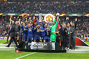 Manchester United celebrate winning the Europa League trophy with trophy during the Europa League Final between Ajax and Manchester United at Friends Arena, Solna, Stockholm, Sweden on 24 May 2017. Photo by Phil Duncan.