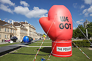 "Vienna. MuseumsQuartier (MQ Vienna) is celebrating its 10th year. ""The Art to Innovate"" - inflatable sculptures. ""We Got the Power"", 2011 by Martin Strauss."