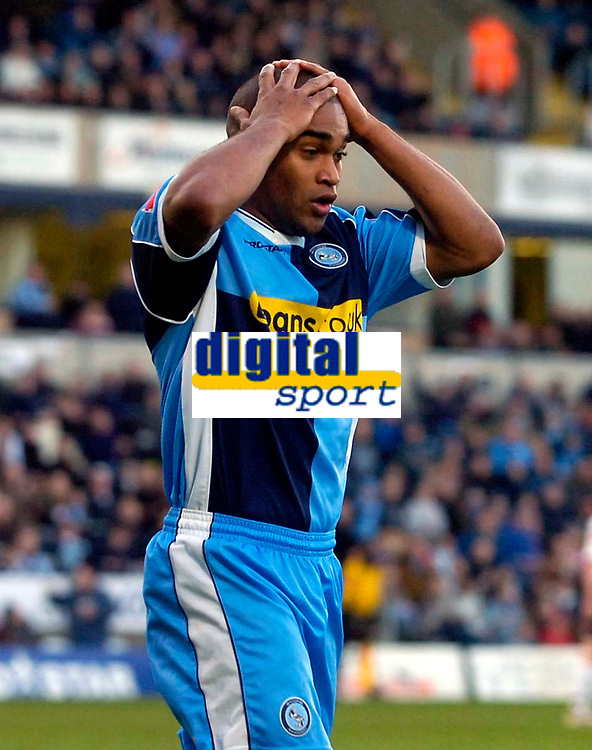 Photo: Alan Crowhurst.<br />Wycombe Wanderers v Grimsby Town. Coca Cola League 2. 18/11/2006. Wycombe's Jermaine Easter can't believe he's missed.