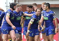 Declan Patton (centre) of Warrington Wolves celebrates with his team mates after scoring the fourth try against Wigan Warriors during the Ladbrokes Challenge Cup, Quarter Final match at the Halliwell Jones Stadium, Warrington.<br /> Picture by Michael Sedgwick/Focus Images Ltd +44 7900 363072<br /> 02/06/2018